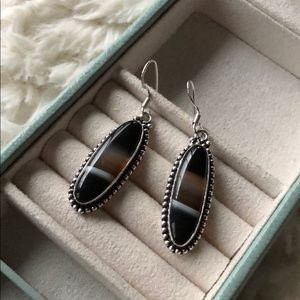 Jewelry - New! Banded Agate & Sterling Silver Earrings